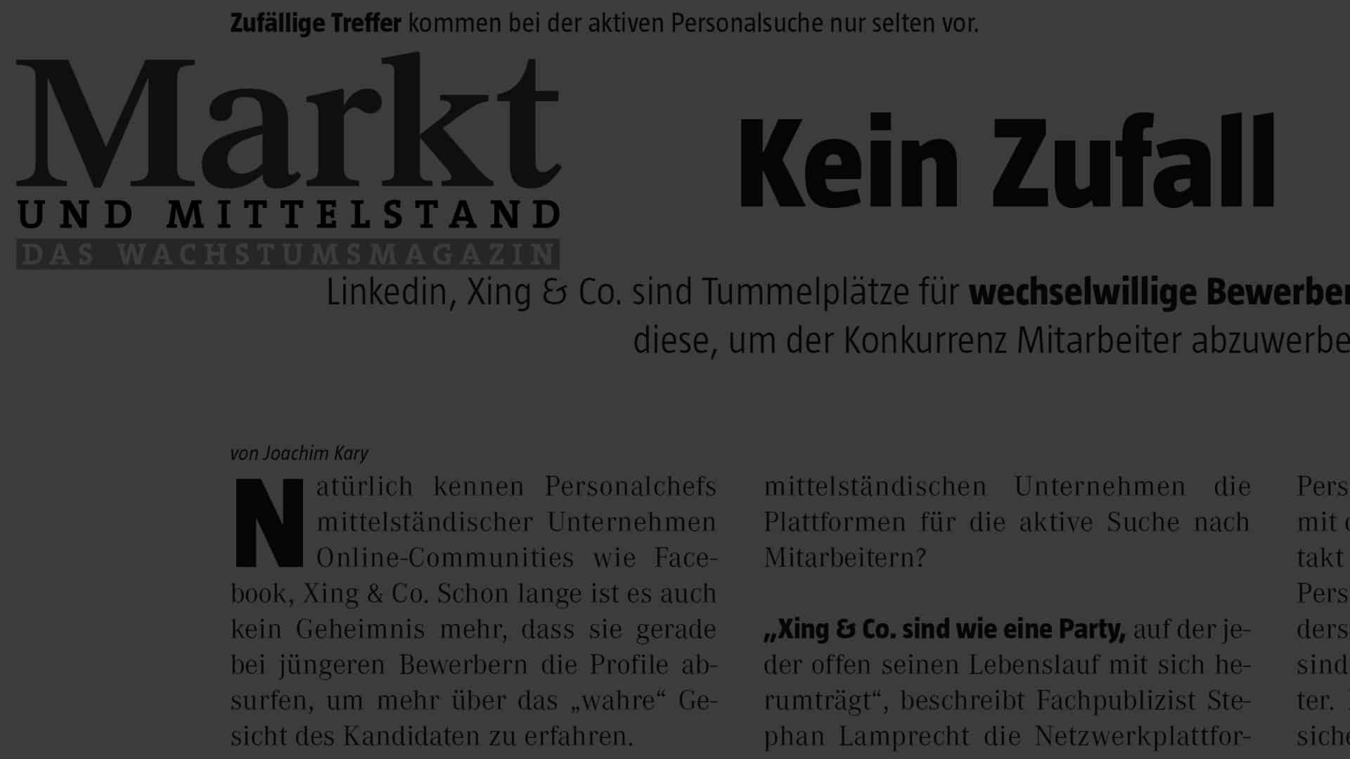 Artikel Kein Zufall - People & Projects e.K. Headhunting | Executive Search ®